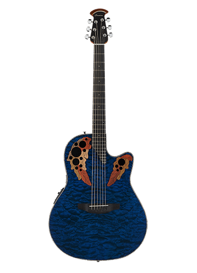 CE44P-8TQ - Celebrity Elite Exotic - Caribbean Blue On Exotic Quilted Maple
