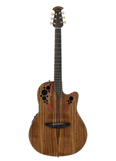 CE44P-FKOA - Celebrity Elite Exotic - Natural On Exotic Flamed Koa