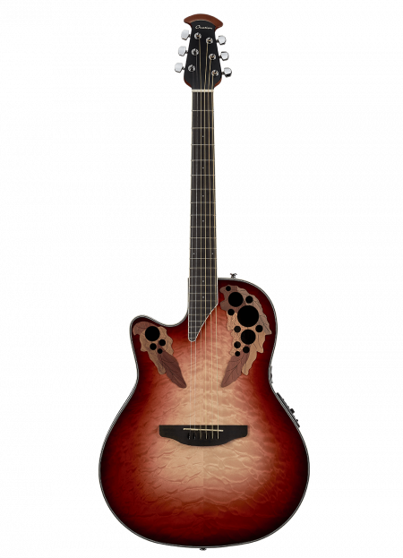 CE44LX-1R - Celebrity Elite Exotic Lefty - Ruby Red/Natural Burst On Exotic Quilted Maple