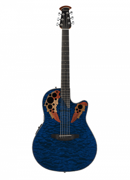 CE44P-8TQ - Celebrity Elite Exotic - Caribbean Blue On Exotic Quilted Maple - Front
