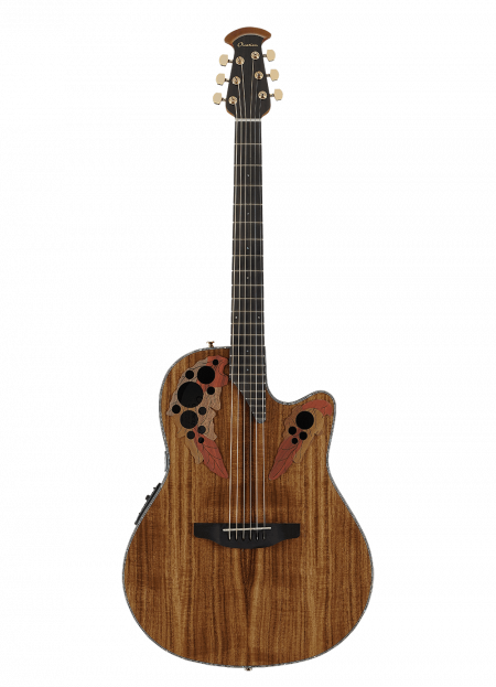 CE44P-FKOA - Celebrity Elite Exotic - Natural On Exotic Flamed Koa - Front