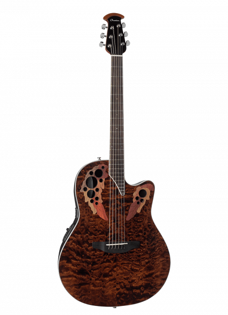 CE44P-TGE - Celebrity Elite® Exotic - Dark Tiger Eye On Exotic Quilted Maple - Front