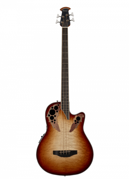 CEB44X-7C- Celebrity Elite Exotic 4-String Bass - Cognac Burst/Natural On Exotic Quilted Maple